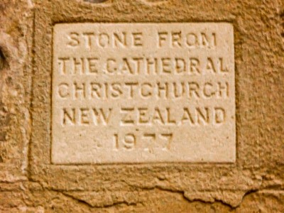 Stone from Christchurch's sister city Christchurch in New Zealand