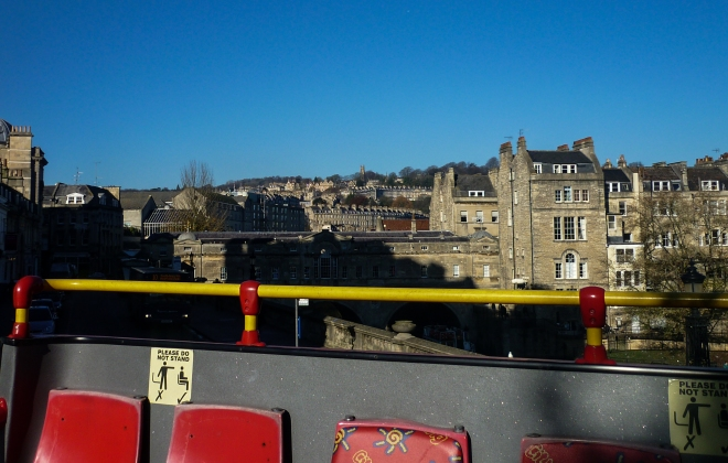 Looking back at Bath from the back of the bus