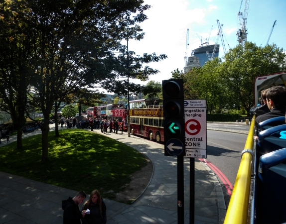 HoHo bus line up outside the Tower of London